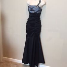 Gown Black Gray Mermaid Stretch Taffeta Beaded Strap Prom Evening Junior Size 7