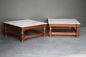 Large Mid Century marble ceramic tile top coffee table solid wood base 1 of 2