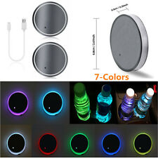 2x 7 Colors LED USB Charger Car Cup Holder Bottom Pad Light Cover IP67 Univseral