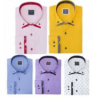 Mens Italian Style Formal Cotton Tailored Double Button Down Collar Shirt S-3XL