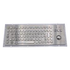 IP65 Kiosk Metal Industrial Keyboard With Trackball Stainless Steel USB Keypads