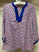 Talbots Women's Size M 3/4 Sleeve Multi Color Top Blouse Medium V-Neck Cotton