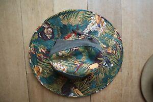 New Unisex Dark Olive & Multicolored Jungle Print DORFMAN PACIFIC Hat w/Mesh S
