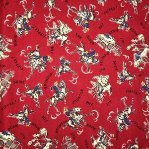 """Vintage Mid Century Red Cowboy Rodeo Print Curtain Valance 14"""" by 69"""" Kitsch Fun"""
