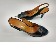 Saks Fifth Ave Fenton Last Black Open Toe Slingback Heels Vintage Women's 7.5Aaa