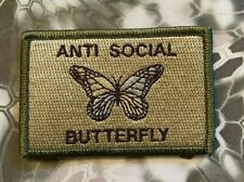 VELCRO® BRAND HOOK Fastener ANTI-SOCIAL Butterfly Multitan Patches 3x2""