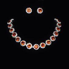 Parure de bijoux femme collier boucles d'oreilles cristal clair pierres orange