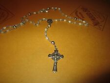 CREED STERLING SILVER ROSARY - SACRED HEART OF JESUS - WHITE IRIDESCENT BEADS