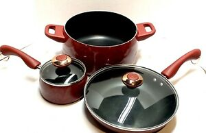 PAULA DEEN RED SPECKLED 5 PIECE COOKWARE SET NONSTICK Great Condition Popular