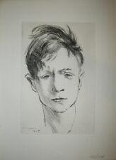 André JACQUEMIN - (Tête de Jeune Homme)  1945 - Gravure originale numérotée