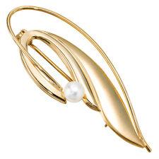 Brosche 585 echt Gold Schmuckspange 14 Karat Gelbgold Perle Damen Anstecknadel