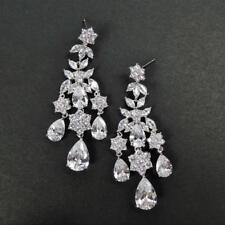 Fabulous Silver Rhodium Plated CZ Cluster Floral Chandelier Statement Earrings