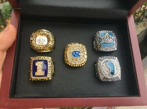 5pcs North Carolina Tar Heels National Team Ring Set With Wooden Box Fan Gift