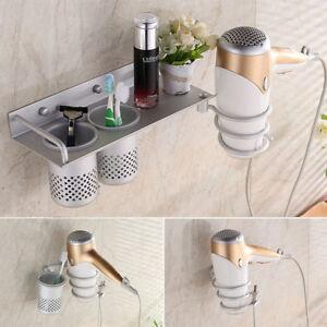 Bathroom Silver Hair Dryer Storage Organizer Rack Comb Holder Wall Mounted Stand
