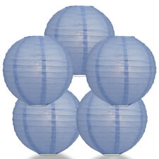 "(5-PACK) 14"" Serenity Blue Round Paper Lantern, Even Ribbing, Hanging Decoration"