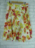 MONSOON A-line Skirt Sz UK 14 Green Pink floral print 100% cotton