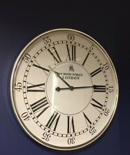 New XL Modern Contemporary Silver & White Roman Numerals Wall Clock Bond Street
