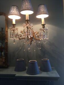 6 Blue Linen Chandlier Lamp Shade