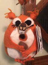 """NWT Birdhouse Wild Woollies Felted Wool Chipmunk Squirrel Nut Bird House 9"""""""