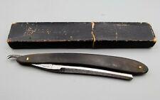 Antique Joseph Elliot Silver Steel Straight Razor Shaving Horn Handle + Box