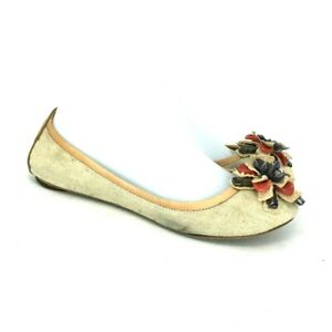 Tory Burch Womens Tan Fabric Floral Comfort Round Toe Flat Ballet Shoes Size 7 M