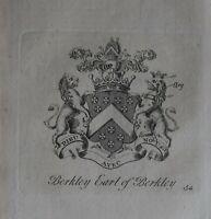 1756 Antico Stampa Famiglia Crest Cappotto Di Braccia Berkley Conte Di
