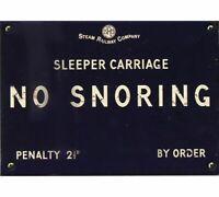 No Snoring Sign Plaque Sleeper Train Railway Carriage Notice Blue Enamel Metal