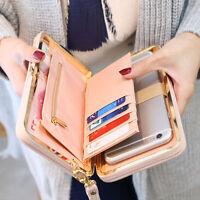 Girls Women Lady PU Leather Clutch Wallet Long Card Holder Purse Box Handbag Bag