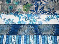 4 FQ Bundle –Blue, Gold & White Prints 100% Cotton Quilt Fabric Fat Quarters