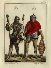 Costume Moyen Age Vandale et Gépide - Gravure aquarelle XIXé Spallart