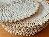 Whitewash Rattan/Shell Kitchen Place Mats/Tray Dinner Table Decor Party Crafted