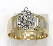 Diamond cluster ring 14K 2 tone gold marquise shape top 19 round brilliants .40C