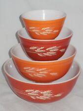 Vintage Pyrex Setof 4 Graduated Sizes Nesting Mixing Bowls Autumn Harvest Wheat