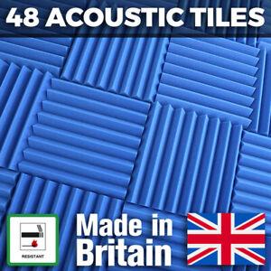 48 Blue Acoustic Foam Tiles Studio Sound Treatment Panels For Podcasts Streamers