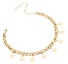 Gold Choker Necklace with Stars - Cute Chunky and Twisted Link Chain - Beautify