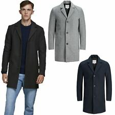 Jack & Jones Men Coat Long Sleeve Blazer Trench Outwear Overcoat Long Jacket