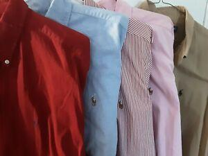 Lot 5 Polo Ralph Lauren Classic Long Sleeve Red Blue Tan Pink Shirts XL 17 34/35