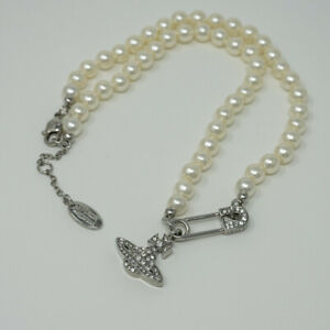 Vivienne Westwood Lucrece Pearl Necklace-Slivery with Pouch