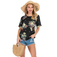 Women Floral Print Short Sleeve Round Neck Tops Blouse Tee Casual Beach T-Shirt