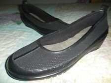 !New! AEROSOLES  Black LOW WEDGE Leather & Mesh LOAFER Ballet Flat Style 10.5M