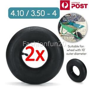 2X Inner Tube 4.10/3.50-4 Inch Bent Stem Valve Lawn Wheelbarrow Tyre black
