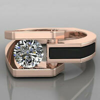 White Sapphire 18K Rose Gold Filled Ring Wedding Engagement Jewelry Size 5-10