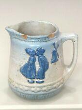 Blue White Stoneware Salt Glaze Kissing Dutch Kids Pitcher McCoy Ohio early 20th