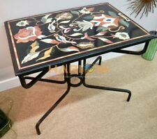 3'x2' Marble Black Dining Table Top Birds Floral Marquetry Inlay Furniture B244