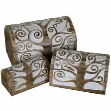 Tree of Life Wooden Chest Box Boxes Jewelry Jewellery Rustic - Set of 3