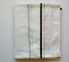 Indian Cotton LUNGI Fabric  - White with Green Border and Stripes 125 ½  x 376cm