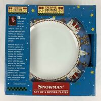 Sakura Debbie Mumm Snowman Dinner Plates Set of 4 Retired New In Box