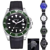 40mm Parnis Rubber Strap Sapphire Japan Automatic Men's Watch Luminous Mark New
