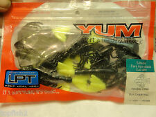 """Yum 3"""" Houdini Crab, Black w/Chartreuse Tail, #YHC3206, 10 Count (New/Saltwater)"""