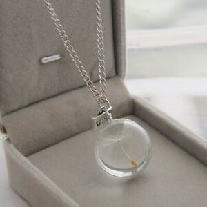 Beaded Dandelion Seed Pendant Necklace natural beaded charm chain glass necklace